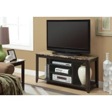 "TV STAND - 48""L / CAPPUCCINO / MARBLE TOP"