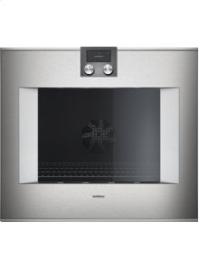 """400 series single oven BO 480 610 Stainless steel-backed full glass door Width 30"""" (76 cm) Right-hinged controls on top"""