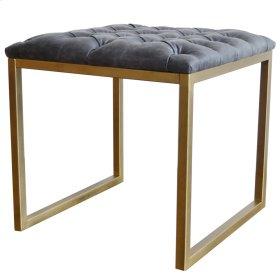 Avril KD Bonded Leather End Table Gold Frame, Vintage Midnight