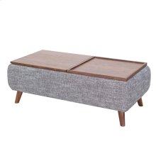 Rydel KD Lift-Top Rectangular Coffee Table w/ Storage, Ash Gray/Walnut