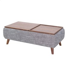 Rydel KD Lift-Top Rectangular Coffee Table w/ Storage, Ash Gray/Walnut