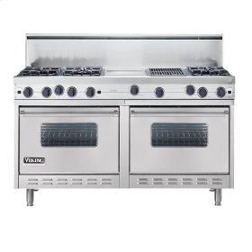 "Metallic Silver 60"" Open Burner Commercial Depth Range - VGRC (60"" wide, six burners 12"" wide griddle/simmer plate 12"" wide char-grill)"