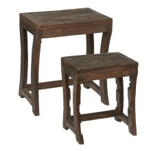 2 pc. set. Repurposed Wagon Wheel Nested Table (Each One Will Vary). (2 pc. set)