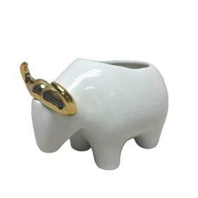 White/gold Bull Planter