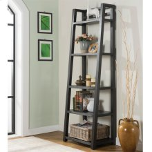 Perspectives - Leaning Bookcase - Ebonized Acacia Finish