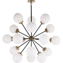 Visual Comfort S5271HAB/BLK-WG Ian K. Fowler Bistro 18 Light 32 inch Hand-Rubbed Antique Brass Pendant Ceiling Light, Ian K. Fowler, Medium, Round, White Glass
