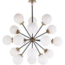 Visual Comfort S5271HAB/BLK-WG Ian K. Fowler Bistro 18 Light 32 inch Hand-Rubbed Antique Brass Pendant Ceiling Light, Ian K. Fowler, Medium, Round, White Glass