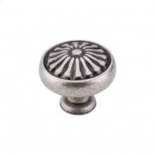 Flower Knob 1 1/4 Inch - Pewter Antique