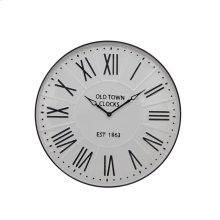"""Metal Wall Clock 31.5"""" White Wb"""
