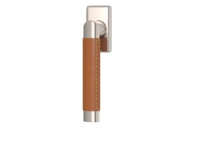 Oval Angle Stitch Out Combination Leather In Tan And Polished Nickel