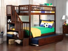 Woodland Staircase Bunk Bed Twin over Twin with Urban Trundle Bed in Walnut