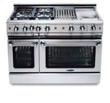"""48"""" four burner gas self-clean range w/ 24"""" Thermo-Griddle™ + convection oven - LP"""