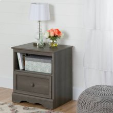 1-Drawer Nightstand - End Table with Storage - Gray Maple