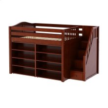 Mid Loft w/ Staircase on End, 8 Shelf Bookcase & 4-1/2 Drawer Dresser : Full : Chestnut : Curved