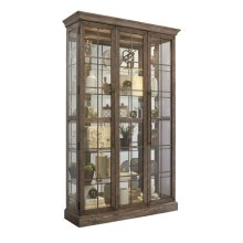 Window Pane Door Display Cabinet with Metal Clad Front