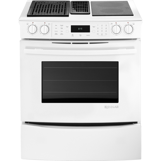 Jes9860caw Jenn Air Slide In Modular Electric Downdraft Range With Convection 30 Floating Glass White My Appliance Source
