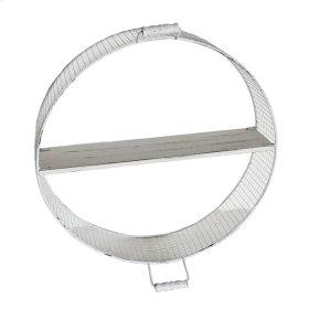 "Round Wire & Wood Wall Shelf 23"", White"