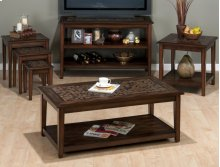 Baroque Brown End Table With Mosaid Tile Inlay
