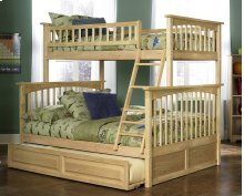Columbia Bunk Bed Twin over Full with Raised Panel Trundle Bed in Natural