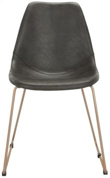Dorian Midcentury Modern Leather Dining Chair - Grey / Copper