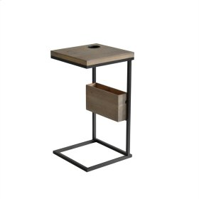 """Wood / Metal 28.25"""" Chairsidetable, Brown"""