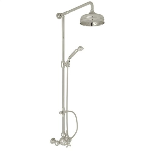 Polished Nickel Arcana Exposed Wall Mount Thermostatic Shower With Volume Control with Arcana Series Only Ornate Metal Lever