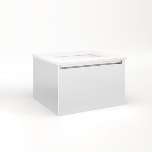 """Cartesian 24-1/8"""" X 15"""" X 21-3/4"""" Single Drawer Vanity In Satin White With Slow-close Plumbing Drawer and Night Light In 5000k Temperature (cool Light)"""