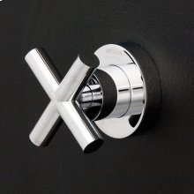 Built-in single lever two-way diverter with a cross handle and round backplate. Water flow rate 7.4 gpm at 43.5 psi.