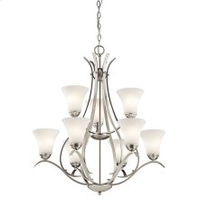 Keiran 9 Light Chandelier with LED Bulbs Brushed Nickel