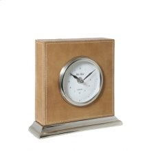 Clock 20x6x19,5 cm BIG BEN nickel leather brown