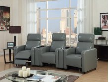 Arcadia Gray Push-Back 3-Piece Reclining Theater Set