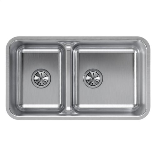 "Elkay Lustertone Classic Stainless Steel 32-1/16"" x 18-1/2"" x 9"", 40/60 Double Bowl Undermount Sink with Aqua Divide"