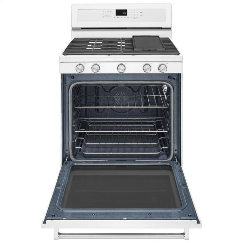 30-Inch 5-Burner Gas Convection Range - White