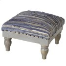 Blue & Beige Chindi Stool (Each One Will Vary) Product Image