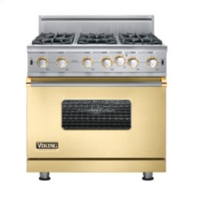 "36"" Custom Open Burner Range, Natural Gas, Brass Accent"