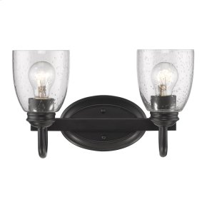 Parrish 2 Light Bath Vanity in Black with Seeded Glass