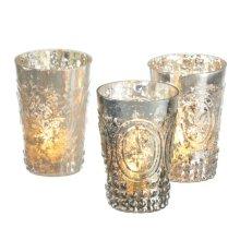 Fleur de Lis Mercury Glass Tealight Holder (3 asstd)