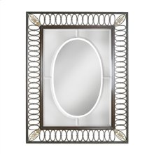 Verdigris Finished Openwork Iron Mirror Frame, Beveled Glass, Brass Accents