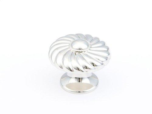 "Solid Brass, Casual Elegance, Round Knob, 1-3/8"" diameter, Polished Nickel finish"