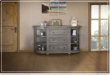 3 Drawers w/ 6 Shelves Console Stone finish