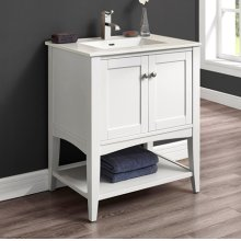 "Shaker Americana 30"" Open Shelf Vanity - Polar White"