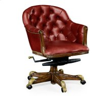 Chesterfield Style Walnut Office Chair, Upholstered in Red Leather