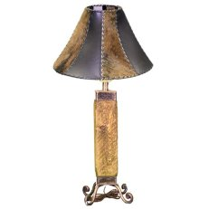 Black Dark Wood & Iron Lamp