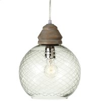Etched Round Pendant with Wood Turned Top. 25W Max. Plug-in with Hard Wire Kit Included. Product Image