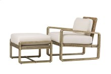 Lounge Chair in Khaki Fabric Trader Lounge Chair and Ottoman