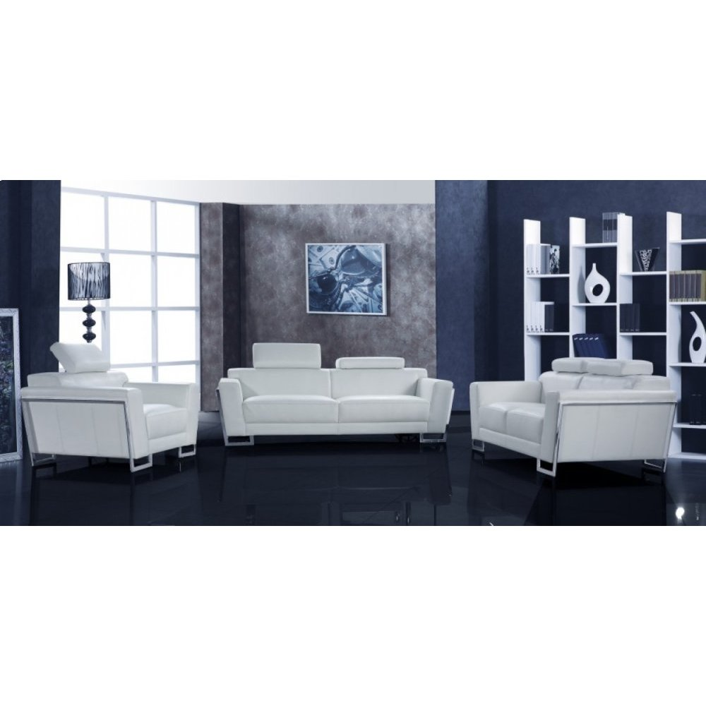 Divani Casa Grace White Leather Sofa Set