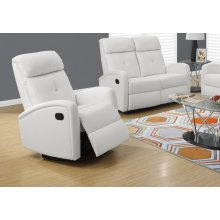 RECLINING CHAIR - SWIVEL GLIDER / WHITE BONDED LEATHER