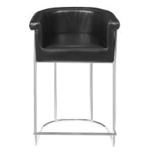 Barrel-Style Modern Upholstered Bar Stool in Black