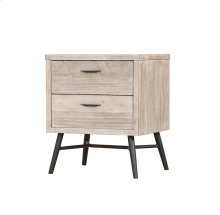 Nova - 2 Drawer Nightstand W/power Outlet-sterling Finish-set Up
