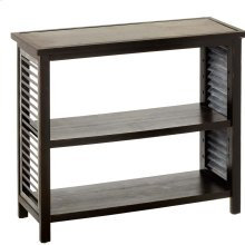 Distressed Black Console Table with Galvanized Top.